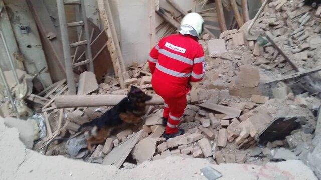 ریزش ساختمان قدیمی در خیابان دماوند/ حضور سگهای زندهیاب در محل